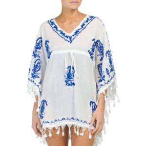 Boho Me Embroidered Tassel Cover Up Tie Caftan M